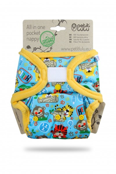 Petit Lulu AIO Pocket Nappies (Fluffy Organic) All In One (Hook & Loop)